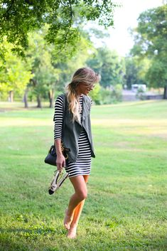 Happily Grey | WOLF and BADGER | striped dress and vest