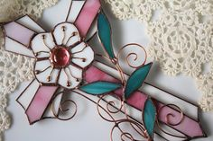 Christmas decor Pink stained glass cross with a flower