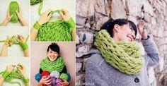 Tricoter une écharpe avec les bras en 30 minutes!