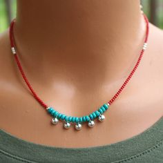 Turquoise and Red Coral Necklace, Boho Chic Turquoise Necklace, Boho Style Beaded . - Turquoise and Red Coral Necklace, Boho Chic Turquoise Necklace, Boho Style Beaded … – – - Collier Turquoise, Turquoise Jewelry, Boho Jewelry, Beaded Jewelry, Fashion Jewelry, Beaded Bracelets, Craft Jewelry, Jewellery Box, Unique Jewelry