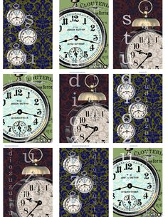 steampunk Sherlock clocks digital printable 25 X 35 by pixelzuzu