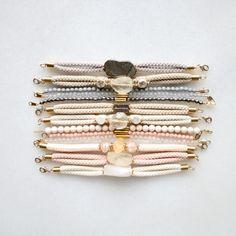 Bracelet samples with pyrite, lemon quartz, citrine and sunstone