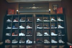 Ward 1 Air Jordan Collection Shoe Room [ Air Jordan Deadstock ] wall. Sneakerhead Organization