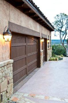 Exterior Garage, Door Header, Wooden Garage Door, Wooden Garage Doors,  And Stucco And Stone - Mediterranean Garage And Shed By Collinas Design & Construction
