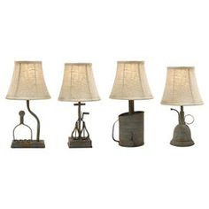 "Set of 4 iron table lamps with appliance-inspired bases and fabric bell shades.   Product: 4-Piece table lamp setConstruction Material: Iron and fabricColor: Rust and beigeFeatures: Bell shadesAccommodates: (1) 60 Watt bulb each - not includedDimensions: 15.5"" H x 8"" Diameter each (approximate)"
