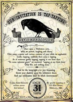 The Raven Halloween Nevermore Poem Invitation by WAGlacierGraphics