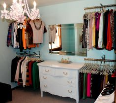 No closet, No problem. Add rods to the wall using decorative wall hook. Perfect to make a walk-in closet in a tiny spare room!