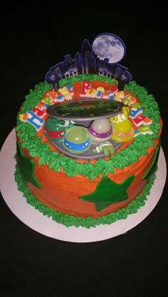 My Ninja Turtle cake I made for my oldest grandson.