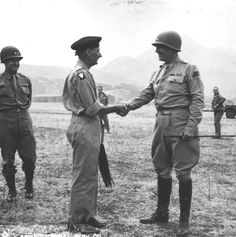 Gen. Bernard Law Montgomery is bid a jolly farewell by Lt. Gen. George S. Patton, Jr., at the Palermo, Sicily airport after a visit by Gen. Montgomery. (28 Jul 43) Signal Corps Photo: MM-Bri-7-28-43-R2-6 (Lt. Brin)