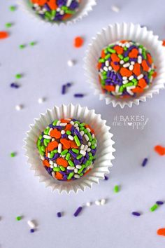 A small batch recipe for Brigadeiro Candies is a smooth and creamy truffle-like candy that is coated in delicious, crunchy sprinkles; perfect for Halloween!