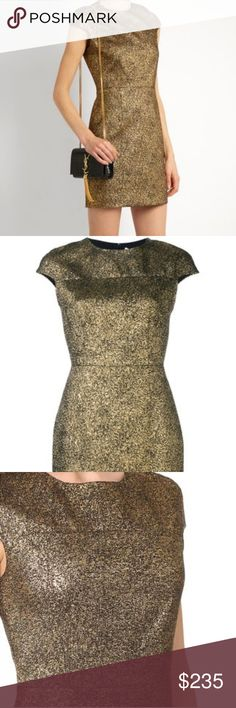 ???DVF-Diane Von Furstenberg Gold mini dress 4 New with tags Never worn still sitting in my closet :/ Such a Gorgeous dress! Ugh!  Sadly I feel too old to wear it  Size 4 - Small  Gold-tone Hadlie dress from Diane Von Furstenberg. Diane von Furstenberg Dresses Mini