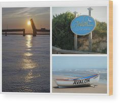 Scenes of Avalon wood print. A photo collage of iconic scenes of Avalon, New Jersey including Townsend's Inlet at sunset, an Avalon beach sign and an Avalon Beach Patrol boat on the shore. Original work available as framed print, canvas, and more only on Fine Art America and Pixels.com. https://andrea-rea.pixels.com/