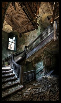 by Matthew Christopher Murray - stairway to heaven - www.us/stairway-to-heaven Abandoned Buildings, Abandoned Mansions, Old Buildings, Abandoned Places, Abandoned Castles, Office Buildings, Steel Buildings, Stairway To Heaven, Beautiful Buildings