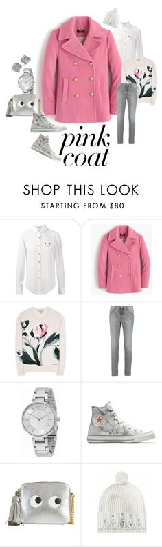 """""""Pink Coat"""" by flipars ❤ liked on Polyvore featuring Loewe, J.Crew, Burberry, dVb Victoria Beckham, Armani Exchange, Converse, Anya Hindmarch, Markus Lupfer, Kate Spade and pinkcoats"""