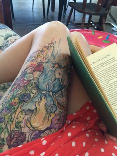 My thigh piece from my favourite book. Alice in Wonderland tattoos rock!!