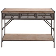 The perfect canvas for a vase of lush blossoms and an array of framed photos, this industrial-chic console table showcases a planked wood top, lower display ...
