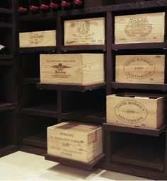 Wooden Wine Boxes & Wine Crates: Classic Wine Crate Project Ideas and Pictures Wooden Wine Boxes, Wood Crates, Wine Cellar Design, Wine Case, In Vino Veritas, Italian Wine, Wine Storage, Wine Box Shelves, Crate Shelves