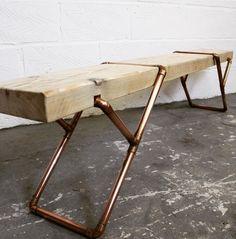 Raw Furniture, Copper Furniture, Diy Furniture Building, Art Deco Furniture, Upcycled Furniture, Industrial Furniture, Furniture Making, Furniture Design, Wood Steel