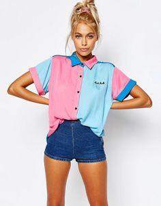 Lazy Oaf Short Sleeve Bowling Shirt With Bad Luck Slogan | ASOS