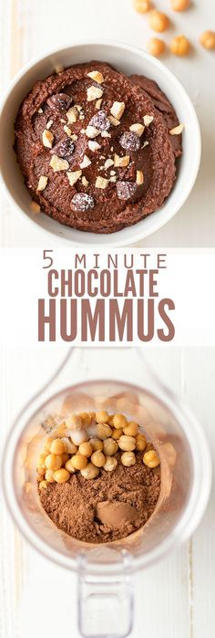5 Minute Chocolate Hummus What do you get when you combine nutrient dense beans with cocoa? My son thinks it tastes like Nutella and my daughter eats it by the spoonful. This is by far one of their favorite snacks! Chocolate Hummus, Cocoa Chocolate, Chocolate Pudding, Chocolate Spread, Homemade Chocolate, Vegan Chocolate, Dessert Oreo, Bon Dessert, Dessert Food