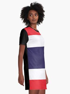 'Flag Of Thailand' Graphic T-Shirt Dress by ArgosDesigns Thailand Flag, T Shirt, Shirt Dress, Modern Minimalist, Chiffon Tops, Designer Dresses, Russia, Casual, Sleeves