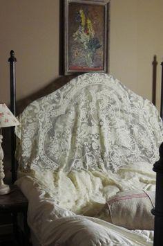 アンティーク 天使のフィレレースカバー(大)  French Antique Lace Cover