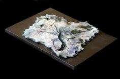 Brown nature inspired board with violets  Blue by LitSmithCeramics