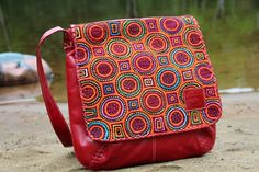 Discover unique handmade leather handbags, purses, messenger bags, backpacks and more on Seal of zAz. A perfect blend of leather and multi-coloured Mola for a one of a kind bag. Unique Bags, Leather Handbags, Satchel, Backpacks, Purses, Messenger Bags, Handmade Leather, Fabric, Seal