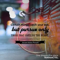 Ancient Indian Proverb. Certain things catch your eye, but pursue only those that capture the heart.