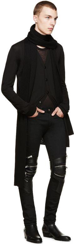 Saint Laurent Black Denim & Leather Biker Jeans