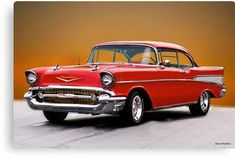 Vintage Trucks Muscle 1957 Chevrolet Bel Air Two-Door Hardtop I Canvas Print - Canvas print. Arrives ready to hang. Additional sizes are available. Ford Classic Cars, Classic Chevy Trucks, Chevrolet Bel Air, Chevrolet Camaro, Chevrolet Trucks, F12 Berlinetta, Us Cars, Race Cars, Vintage Trucks