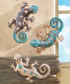 3 Desert Colored Hand Painted Gecko Lizards Southwest Wall Art Home Decor