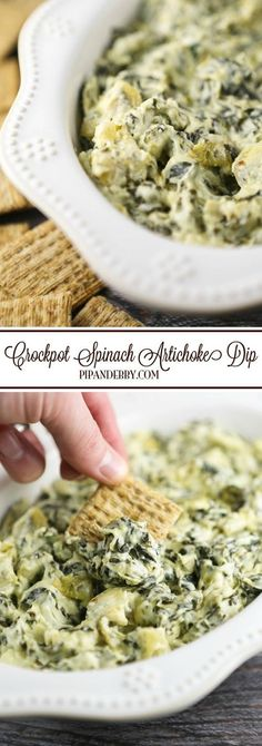 Crockpot Spinach Artichoke Dip   ALWAYS the first appetizer gone at the party. This is ridiculously easy to make and it is a party staple!
