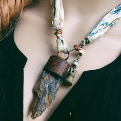 Blue kyanite necklace Raw stone necklace Blue kyanite by quisnam