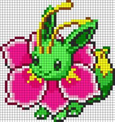 Eevee And Meganium Fusion Perler Bead Pattern Bead Sprites Characters Fuse Bead Patterns Melty Bead Patterns, Perler Patterns, Beading Patterns, Kandi Patterns, Beaded Cross Stitch, Cross Stitch Patterns, Grille Pixel Art, Hama Beads Pokemon, Pokemon Cross Stitch