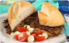My Favorite Slow Cooker Italian Beef ~ Perfect when served with a fresh caprese salad. | BetterThanBouillon.com