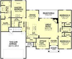 4Beds 2 Baths 1842 Sq/Ft Plan #430-89 Floor Plan - Main Floor Plan - Houseplans.com