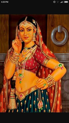 The Regal Courtesan, Oils Oil Painting on CanvasArtist: Anup Gomay India Painting, Online Painting, Woman Painting, Fabric Painting, Oil Painting On Canvas, Rajasthani Painting, Rajasthani Art, Indian Women Painting, Indian Art Paintings