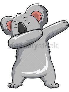 Dabbing Koala Bear: Royalty-free stock vector vector illustration of a cute koala bear swinging its arms to do the dab dancing move. Cute Koala Bear, Baby Koala, Koala Bears, Cool Art Drawings, Cartoon Drawings, Animal Drawings, Husky Drawing, Bear Drawing, Bear Vector