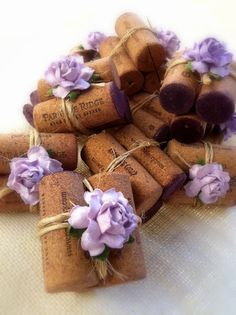 Lilac & Twine Place Card Holders, vintage corks from Paradise Ridge Winery