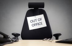 business chair with out of office sign concept for vacation holiday lunch break or work life balance Out Of Office Email, Paid Time Off, Time For Change, Tracking Software, Office Signs, Best Practice, What Can I Do, Blockchain, Concept