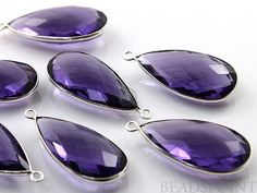 Purple Amethyst Bezel Pear Shape Component 925 by Beadspoint, $9.99