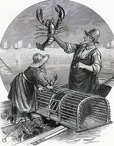 """Lobstering on the New England coast. The """"King of the Catch"""" -- Scene off Scituate. Undated engraving from a sketch by Joseph Becker."""