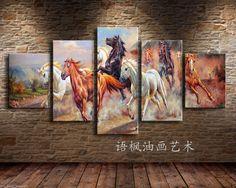 Impresión de alta definición animal Óleo Pintura Pared Decoración Arte Sobre Tela, Caballo correr 5PC | eBay