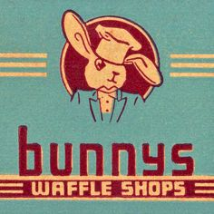 Bunnys Waffle Shops detail of a vintage match pack from San Francisco, CA