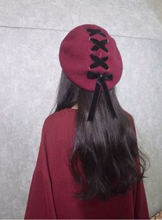 GuRus - Fashion Hats 2016 New Sweet Cute Berets Female Hats Soft Macaron color Ribbon Woolen Lolita Beret Vintage Soft Straps Cross Bow Girls Berets - Kawaii Fashion, Lolita Fashion, Cute Fashion, Fashion Outfits, Outfits With Hats, Cute Outfits, Summer Outfits, Floppy Hat Outfit, Chicas Punk Rock