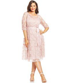 SL Fashions Plus Size Metallic Lace Ribbon-Belt Dress - Dresses - Plus Sizes - Macy's