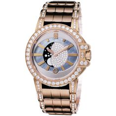 Harry Winston Ocean Lady Moon Phase 36mm oceqmp36rr009 Watch (800.768.305 IDR) ❤ liked on Polyvore featuring jewelry, watches, polish jewelry, harry winston, harry winston jewelry and harry winston watches