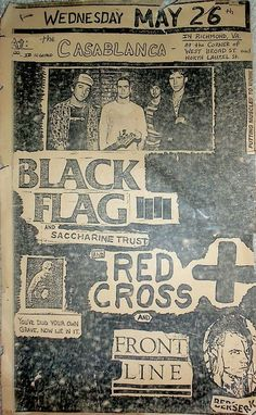 Black Flag, Saccharine Trust, Red Cross, Frontline @ The Casablanca. Richmond VA 1982
