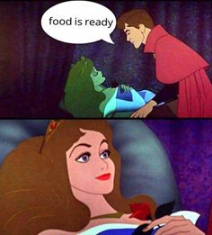 Hahahaha! This is me with food and him with coffee.
